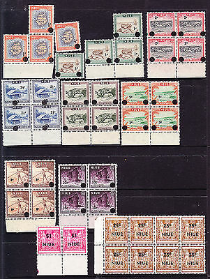 NIUE 1967 DECIMAL CURRENCY OVERPRINTS ON 1950 SET TO 10c MUH BLKS FOUR + NZ ARMS