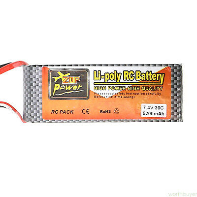 For RC Helicopter Airplane Car Hot 7.4V 5200mAh 30C Lipo Battery One Piece new