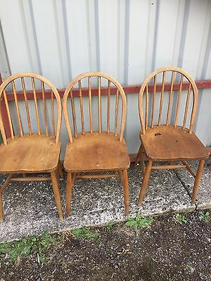 3 ERCOL Blonde Dining Chairs CC41 & label For Restoration Mid Century  31/7/H