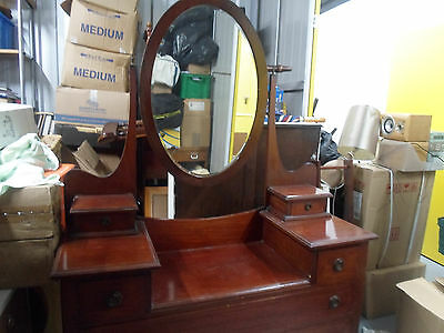 Victorian antique solid mahogany inlaid  dressing table
