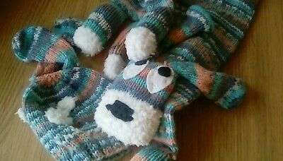 Childrens handknitted dog scarf and matching hat