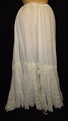 Edwardian Insert Lace Petticoat With Silk Ribbons