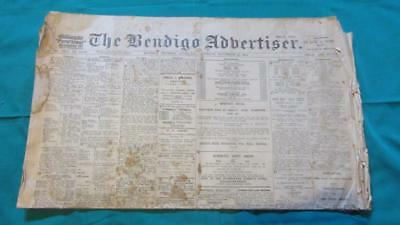 1914 The Bendigo Advertiser Saturday November the 21st. Victoria Australia Cost