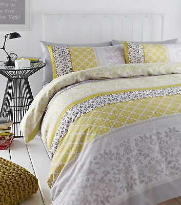 Catherine Lansfield Mustard Yellow/Grey Oriental Birds Cotton Rich Duvet Set