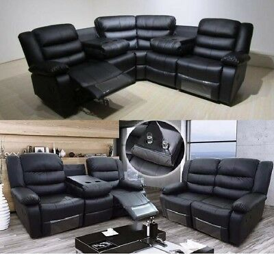New Leather Recliner Sofa With Drinks Holder Valencia Luxury Black Bonded