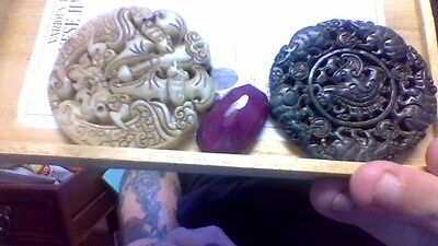 natural white jade Asian dragon hand carved antique pendant
