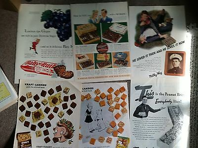 "100 1940s- 50s CANDY COLOR MAGAZINE AD 10x14"" size $9.99 various brands"