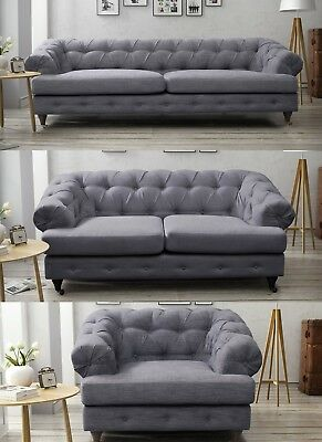 Oxford Three Seater Fabric Linen Chesterfield Dark Grey New Sofa Quality Wood