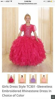 Little Girls Pageant Or Flower girl Dress fuchsia Size 7 Brand New.