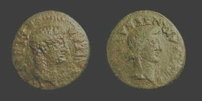 TIBERIUS & LIVIA. AE 22. EDESSA. His, Her portrait on front & back side. Scarce.