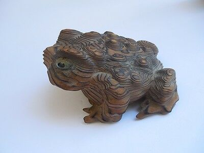 "Vintage Japenese Hand Carved Wood Frog Cryptomeria Horny Toad 4 1/8"" Excellent"