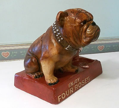 Vintage Four Roses Whiskey Bourbon Bulldog Bar Display 1940s Bar Den Decor