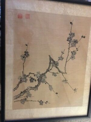 Old Chinese Ink Painting Plum Branch Artist Marks Fine Ching art