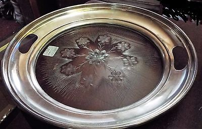 """R S & Co Sterling Silver & Glass 10 1/2"""" Serving Tray  Super Deep Cutting"""