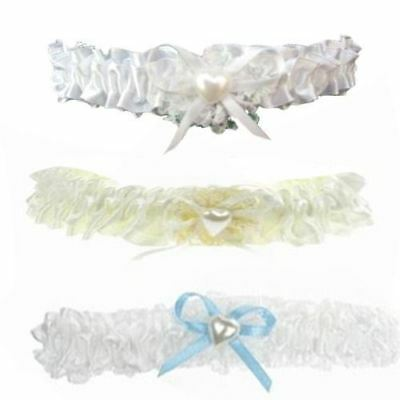 Lace Garter With Ribbon Bow & Pearl Heart Bead White Blue Ivory Wedding Bridal
