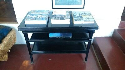 A Maison Jansen. Wood And Black Lacquer Side Table.