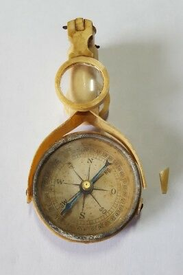 Vintage Rare 1930's Celluloid Telescoping Mirrored Field Compass Damaged