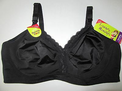 Loving Moments Nursing Bra Black 40DD Clasp Molded Wirefree New soft non padded