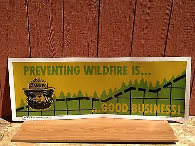 Vintage U.S. Forest Service Smokey Bear Fire Prevention Wildfires Poster Sign