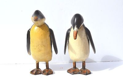 2 Vintage Nicely Carved Wood/wooden Penguin Couple