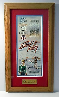 Christmas 1951 ~ Sun Valley ~ Idaho Ski Resort Travel Promo Framed Ad