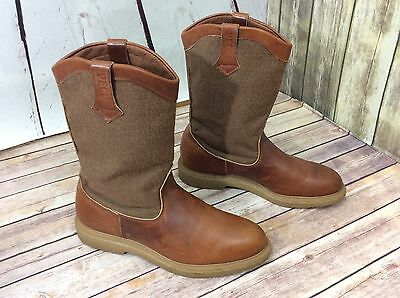 Red Wing Brown Leather and Brown Canvas Supersole Crepe Work Boots 10.5 D