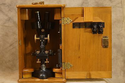 Antique Lukas Microscope in Wooden Box (Bausch & Lomb), Rare Brand, Double Sight
