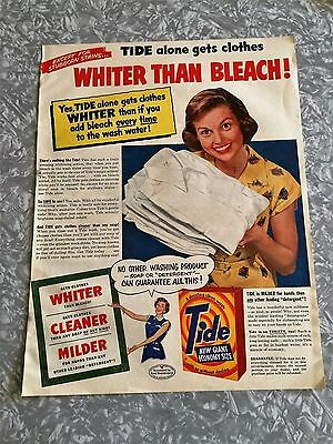 1953 vintage ad large TIDE Laundry soap detergent ad WHITER THAN BLEACH w/lady