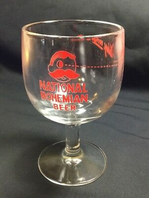 """Vintage National Bohemian Glass Beer Goblet, """"Oh Boy What A Beer"""""""