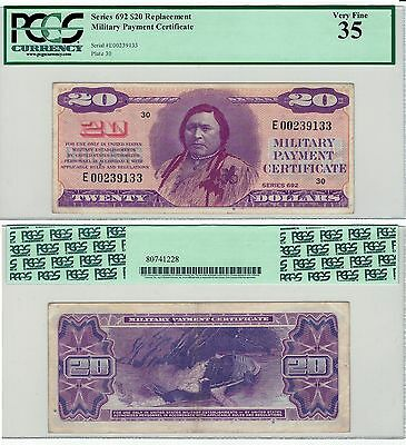 MPC * REPLACEMENT Note * Series 692 $20 Military Payment Certificate PCGS 35 VF