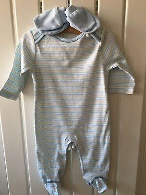 Baby Boy's Clothes 0-3 Months - BNWOT Blue Striped Sleepsuit & Scratch Mittens