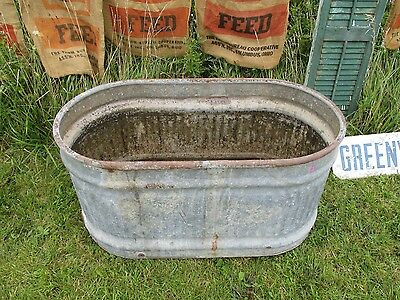 Country Galvanized Round End oval Water Tank Feed Trough Horse Farm Cattle 46x24