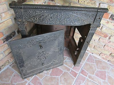 Antique Cast Iron W. Sharp & Son 1902 Cherubs & Birds Fireplace Insert Surround