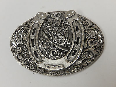 Very nice Horseshoe Belt Buckle made by Enchantment USA Pewter? diamond cut?