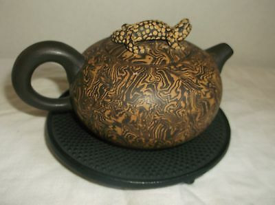 Vintage Chinese Yixing Zisha Personal Clay Teapot Reptile Lizard & Trivet UNUSED