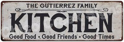 THE GUTIERREZ FAMILY KITCHEN Vintage Look Metal Sign Chic Decor Retro 6184324