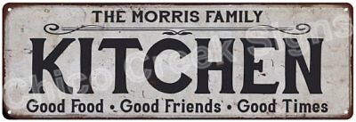 THE MORRIS FAMILY KITCHEN Vintage Look Metal Sign Chic Decor Retro 6184284
