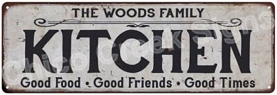 THE WOODS FAMILY KITCHEN Vintage Look Metal Sign Chic Decor Retro 6184361