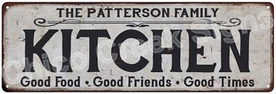 THE PATTERSON FAMILY KITCHEN Vintage Look Metal Sign Chic Decor Retro 6184332