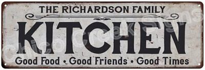 THE RICHARDSON FAMILY KITCHEN Vintage Look Metal Sign Chic Decor Retro 6184302