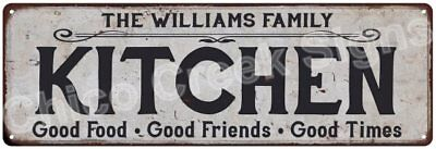 THE WILLIAMS FAMILY KITCHEN Vintage Look Metal Sign Chic Decor Retro 6184231