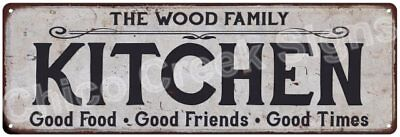 THE WOOD FAMILY KITCHEN Vintage Look Metal Sign Chic Decor Retro 6184303