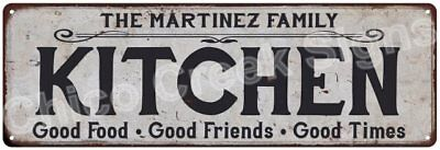 THE MARTINEZ FAMILY KITCHEN Vintage Look Metal Sign Chic Decor Retro 6184239