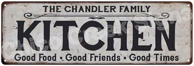 THE CHANDLER FAMILY KITCHEN Vintage Look Metal Sign Chic Decor Retro 6184607