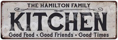 THE HAMILTON FAMILY KITCHEN Vintage Look Metal Sign Chic Decor Retro 6184335