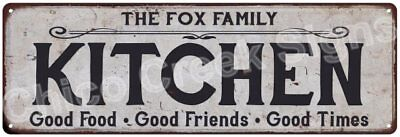 THE FOX FAMILY KITCHEN Vintage Look Metal Sign Chic Decor Retro 6184395