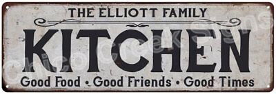 THE ELLIOTT FAMILY KITCHEN Vintage Look Metal Sign Chic Decor Retro 6184425