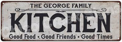 THE GEORGE FAMILY KITCHEN Vintage Look Metal Sign Chic Decor Retro 6184455
