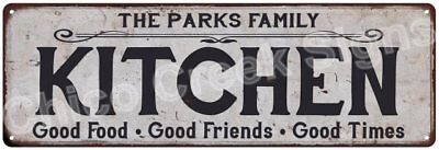 THE PARKS FAMILY KITCHEN Vintage Look Metal Sign Chic Decor Retro 6184550