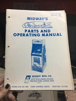 Midway GALAXIAN Arcade Video Game Manual - good used original